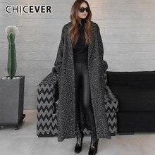 CHICEVER סתיו חורף נשים של מעילי נקבה מעילי דש ארוך שרוול Loose Oversize שחור תחרה למעלה מעיל אופנה מזדמן בגדים