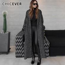 Chicever 가을 겨울 여성 코트 여성 자켓 옷깃 긴 소매 느슨한 특대 블랙 레이스 업 코트 패션 캐주얼 의류