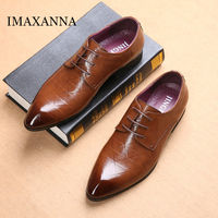 IMAXANNA Men Dress Shoes Luxury Mens Shoe Leather New Male Lace Up Wedding Shoes Classic Pointed Toe Single Shoes High Quality