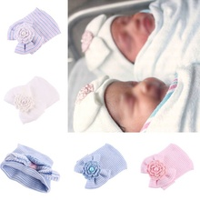 Newborn Baby Infant Toddler Girls Bow Flower Soft Hospital Cap Beanie Cute Hat YJS Dropship
