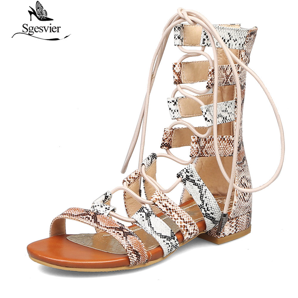 Women's Shoes Heels Sgesvier Europe Style Chunky Low Heels Ankle Gladiator Sandals Women Shoes Summer Snake Skin Gingham Cross Tied Sandal Boot G370 Highly Polished