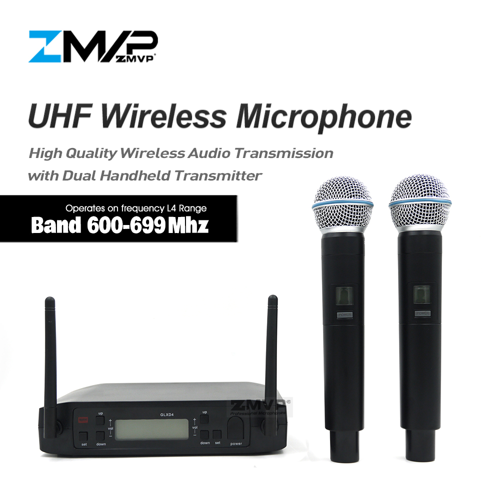 ZMVP Professional GLXD4 BETA58 UHF Live Vocal Karaoke Wireless Microphone System With Dual Handheld Transmitter Mic 600-699 MhzZMVP Professional GLXD4 BETA58 UHF Live Vocal Karaoke Wireless Microphone System With Dual Handheld Transmitter Mic 600-699 Mhz