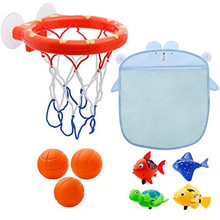 1pc Funny Baby Shower Boy Bathroom Toys Baby Bath Toys Storage Basketball Hoop And Balls Playset Summer Toys For Kids #TC cheap The North E home Plastic Squeeze-sounding Dabbling Toy 3 years old 3 years old HDZDY29 Unisex No Warning Certificate