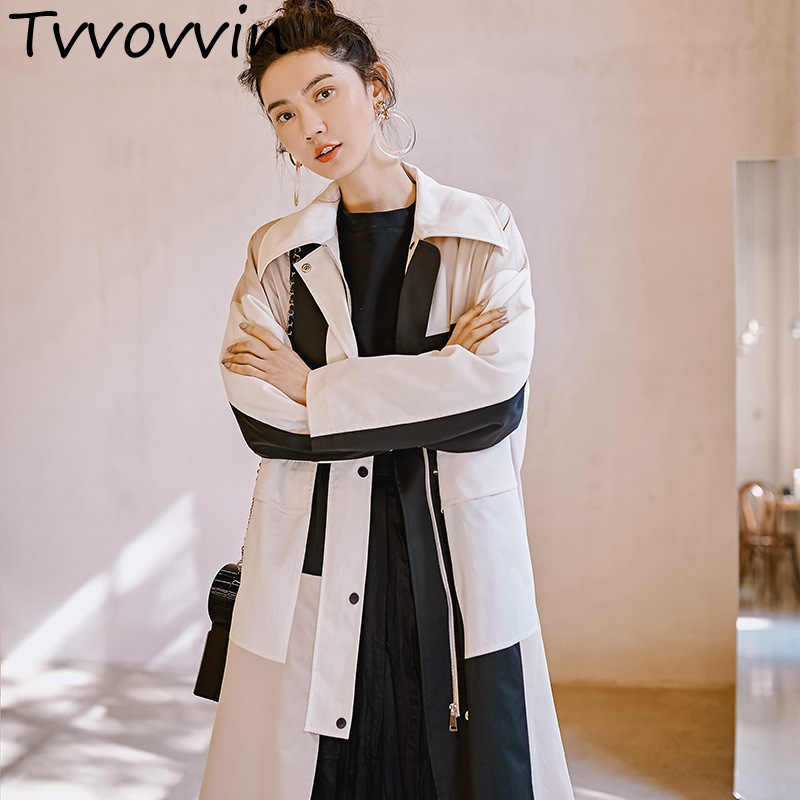 TVVOVVIN 2019 New Spring Persoanlity Windbreaker For Women Contrast Color Long Overcoat Female's Large Size   Trench   E336