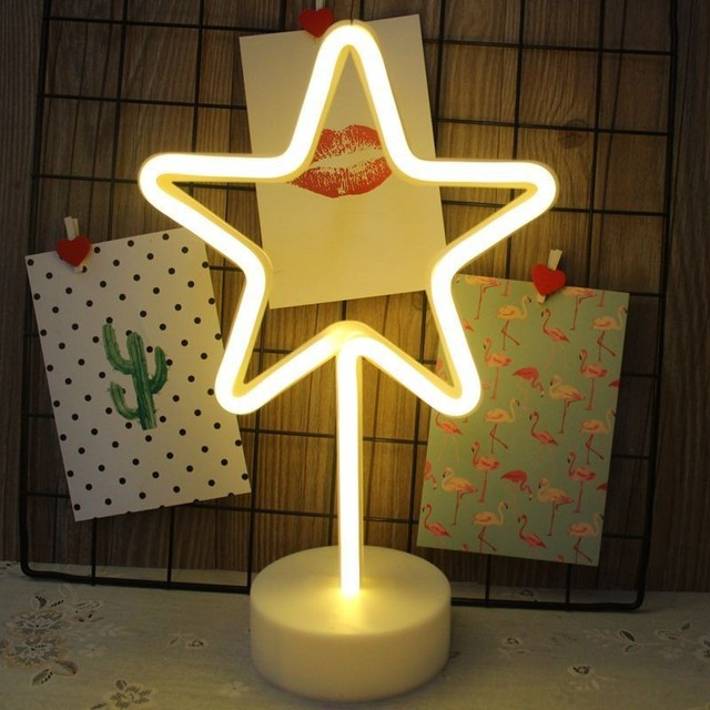 Ins Cartoon Flamingo Cactus Pineapple Star Shape Night Light Colorful Nordic Night Lamp  Christmas New Year Decorative Lights