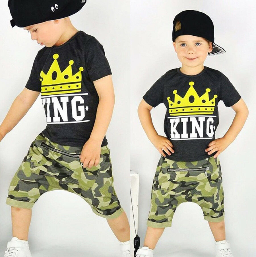 Pudcoco Boy Suit 1Y-6Y  Toddler Baby Kid Boys Summer Tops T-shirt Camo Pants Outfits Set Clothes
