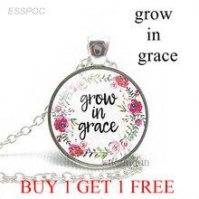 Растение в грации Библейский стих Цитата модное цветочное ожерелье бижутерия со стеклянными кабошонами христианская подвеска Подарки для ...