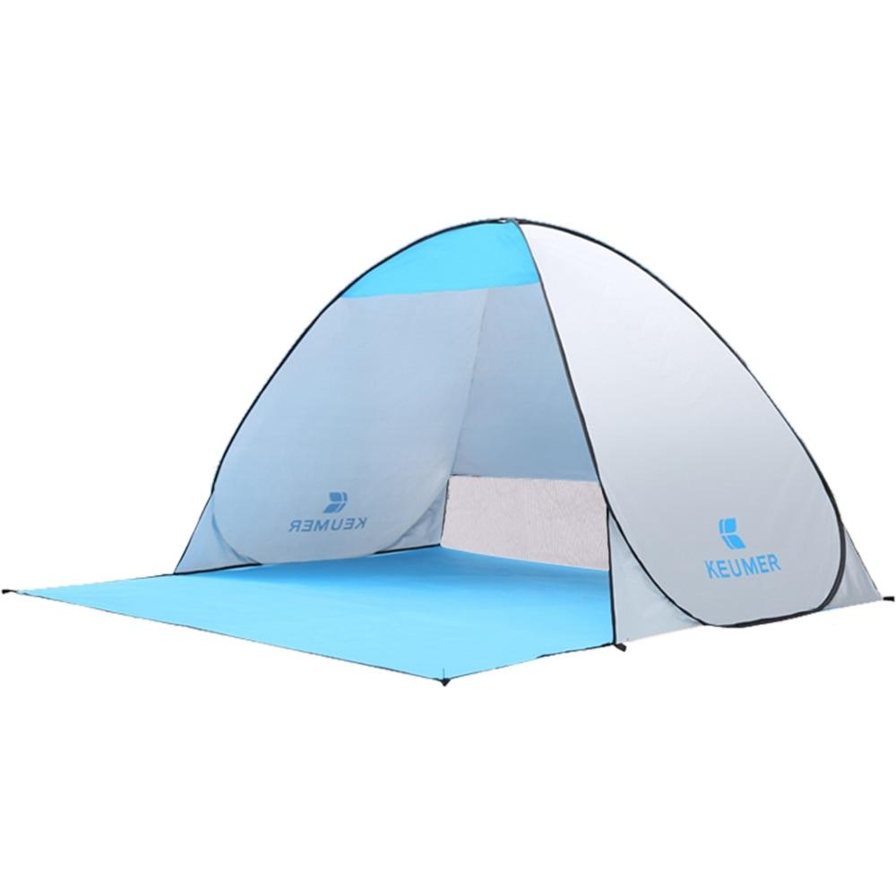 KEUMER Outdoor Tent Beach Tent Shelter (120+60)x 150 X 100Cm Instant Pop-Up Camping Fishing Travel Garden Tent Sun Shelter