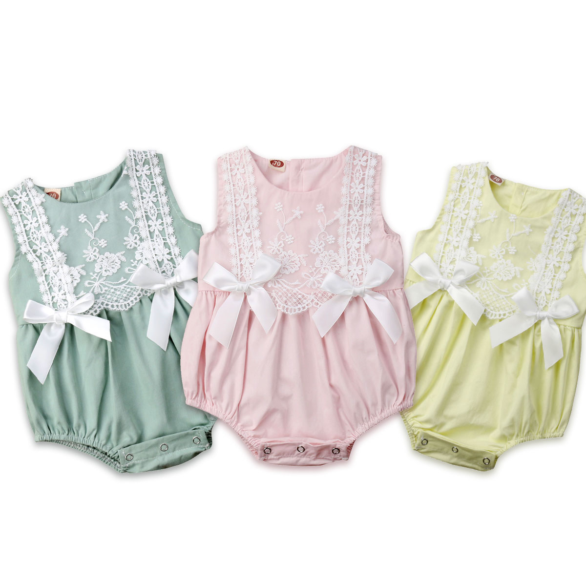 Infant Newborn Baby Girls Clothing Lace Ruffles Rompers Jumpsuit Cute Bow Sunsuit Summer 2019 Baby Girls Costume