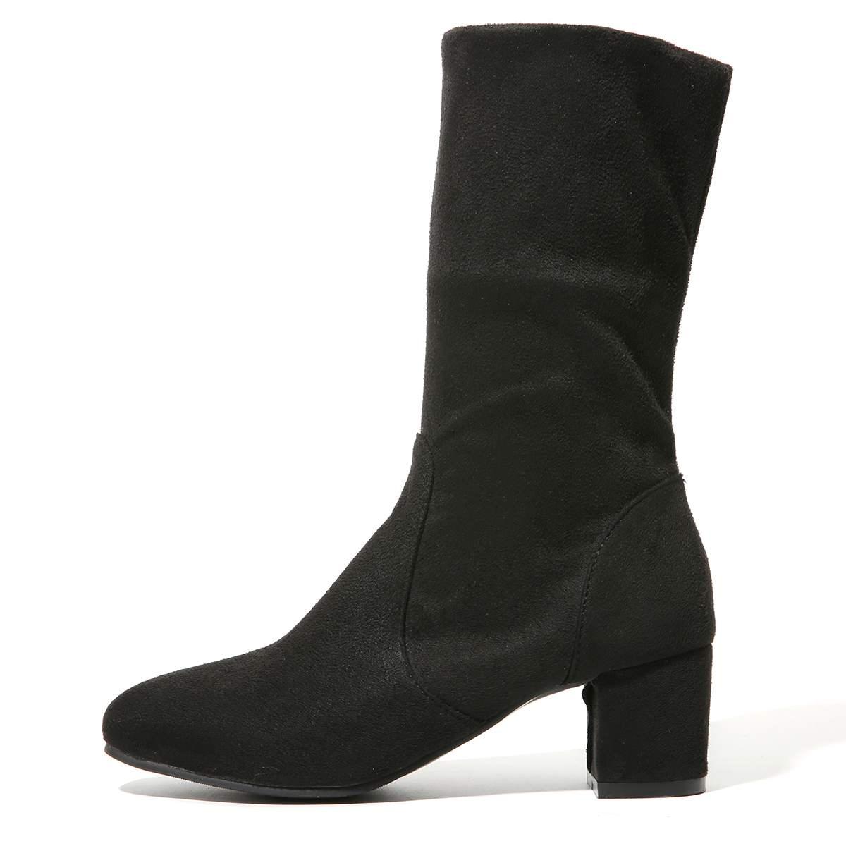 Ternero Ajustable Dos de black mediados Longitud Invierno La Black Zapatos Cálido Botas Las Otoño Damas Rebaño Long Rodilla Mujeres Nis Short Negro vTYAw
