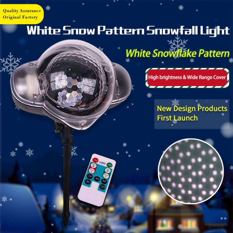 Snowfall Projector Moving Snow Outdoor Garden Laser Projector Lawn Lamp Christmas Snowflake Light Xmas Party New Year Decor недорого