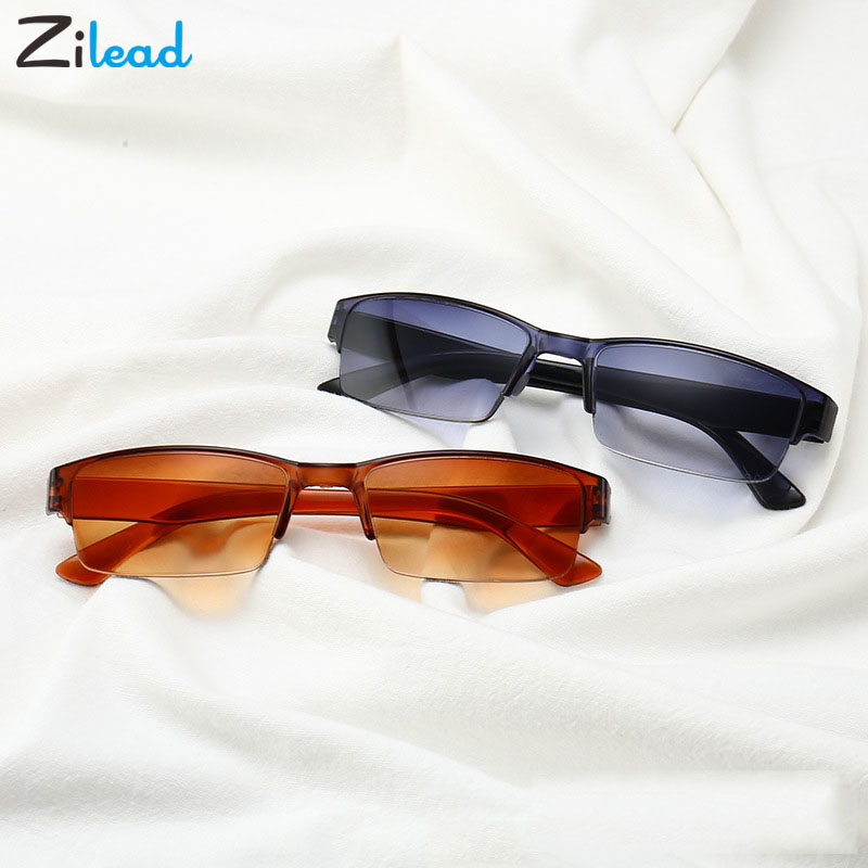 Zilead Ultralight Comfy Light Half Frame Reading Glasses TR90 Resin Double Color Presbyopic Glasses Unisex For Women&Men Fashion
