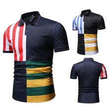 Stripes Men Polo Shirt Tees Blouse New Blue Red Lapel collar Casual Short sleeve Summer Tops Camisa masculina