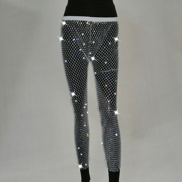 Black Diamonds Fishnet Sexy Pants Solid Women Bottoms Crystal Rhinestones Hollow Out Transparent Beach Club Party Trousers