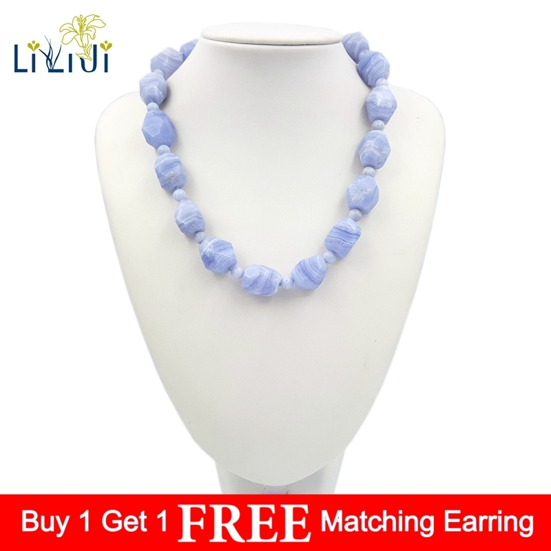 LiiJi Unique Natural Blue Lace Agates Stone Toggle Clasp Necklace 20 Fashion Summer Necklace