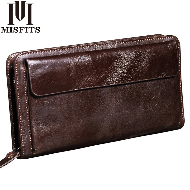 MISFITS NEW Men Wallet Genuine Leather Brand Vintage Organizer Wallets Male Clutch Bag Zipper Coin Purse Cell Phone Long Purse цена