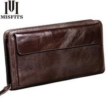 MISFITS NEW Men Wallet Genuine Leather Brand Vintage Organizer Wallets Male Clutch Bag Zipper Coin Purse Cell Phone Long Purse