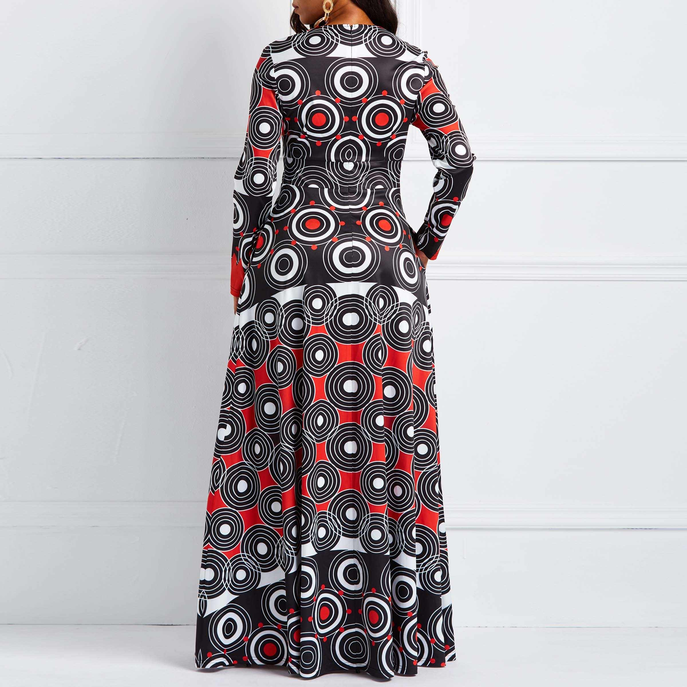 bcc2bad79fd5c Clocolor African Dresses for Women Vintage Polka Dots Print Plus Size  Autumn Winter Long Sleeve Tunic Ladies Maxi Long Dress New