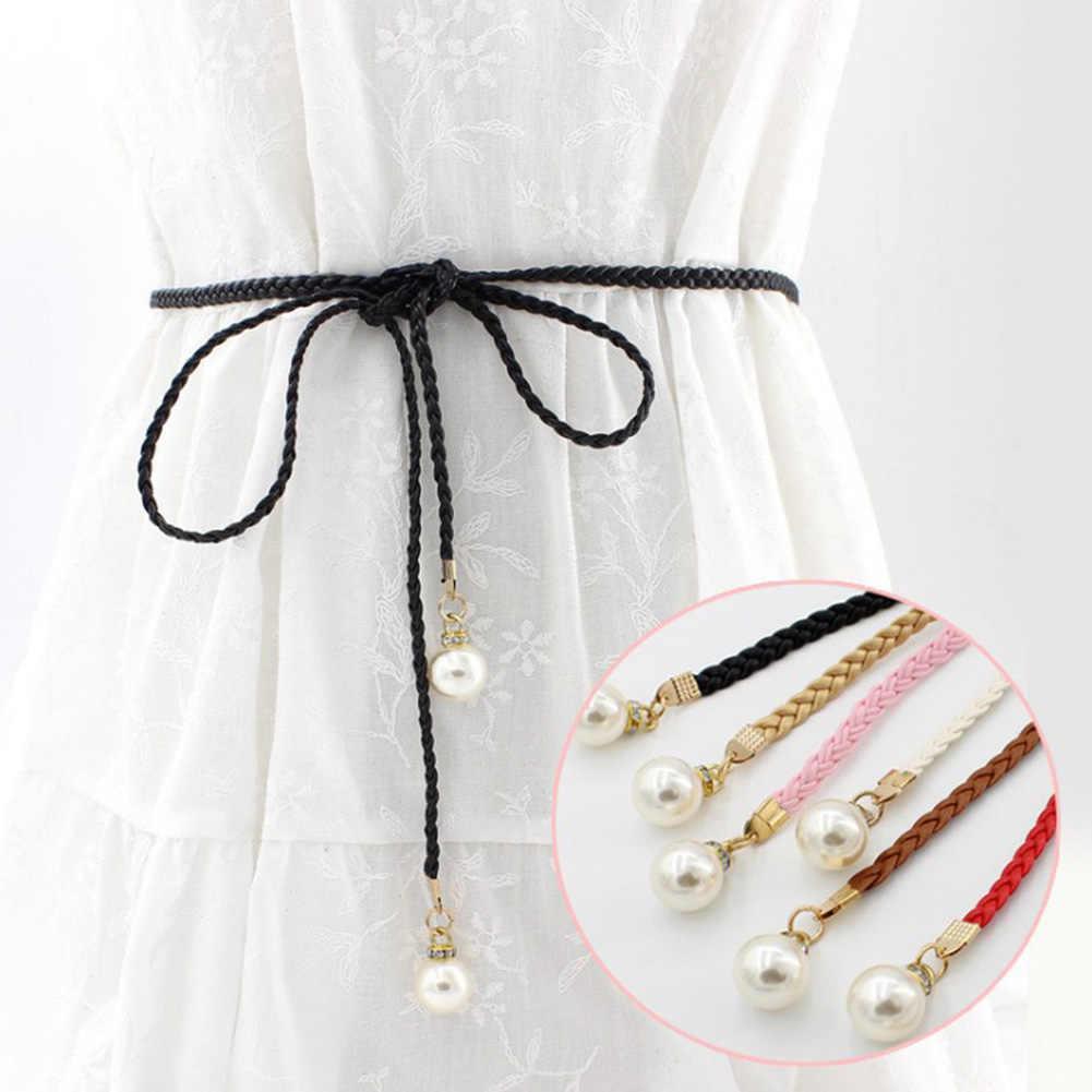 เข็มขัดผู้หญิงสไตล์ลูกอมสีเอว Chain กัญชาเชือกถักมุกใหญ่เข็มขัด Hand Made เข็มขัดแฟชั่นสีขาวสีดำสีแดง
