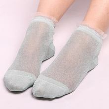 GZHOUSE Glitter Ankles Socks Fashion Women Spring Summer Shiny Thin Casual Girls Sock Sexy Perspective Ladies