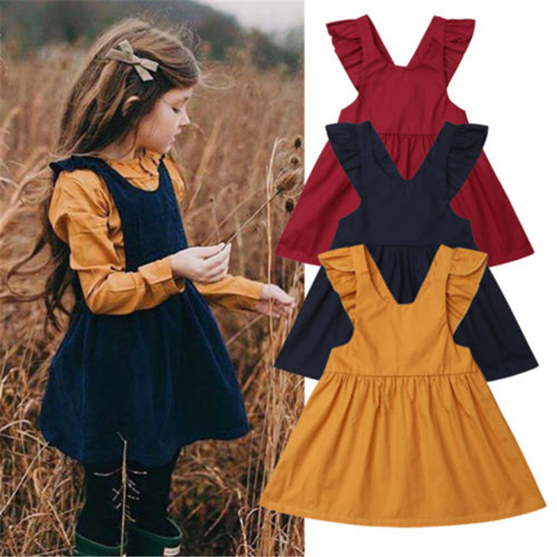 Emmababy Toddler Dresses Overalls Leisure Newborn Girls Dropship Kids Solid-Color Fashion