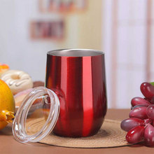 9oz Double-insulated Water Cup Stainless Wine Steel Tumbler Glass for Coffee Egg Shape Drinkware