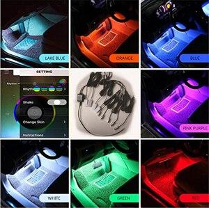 Image 3 - Светодиодные атмосферные лампы RGB 12 В с автомобильным интерьером, лента из оптического волокна 6 м, напольсветильник освесветильник для салона, управление через приложение для телефона