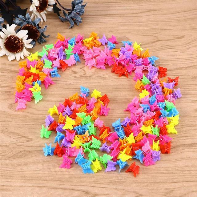 100 Pieces Butterfly Hair Clips Claw Barrettes Mixed Color Mini Jaw Clip Hairpin Hair Accessories for Women and Girls 4