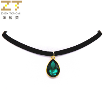 Fashion Torques Bijoux Pure Black Velvet Leather Water Drop Pendant