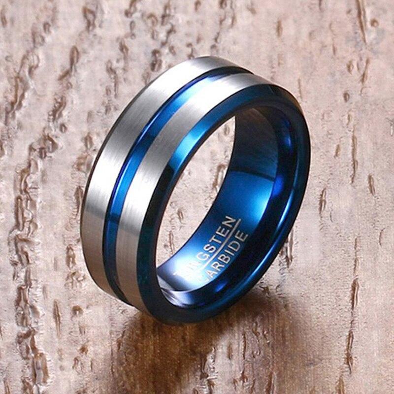 Vnox 6/8 Prata seis milímetros Azul Anel de Banda De Casamento Dos Homens de Tungstênio Anel Aliança Diária Casuais Masculino Jóias