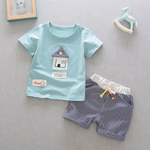 Summer New Style Casual Children Baby Short Sleeve Suit Sweet and Lovely Living Suspender Shorts Two