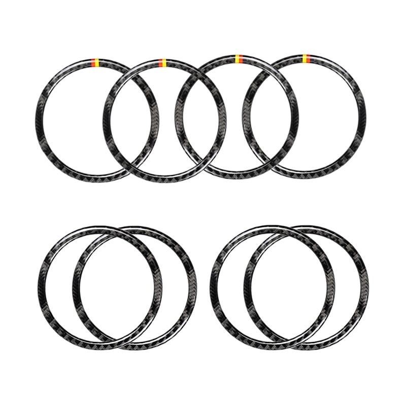 For Mercedes Benz W205 C180 C200 C300 GLC260 4pcs/set Carbon Fiber Car Door Speaker Ring Loudspeaker Sticker Cover-in Interior Mouldings from Automobiles & Motorcycles