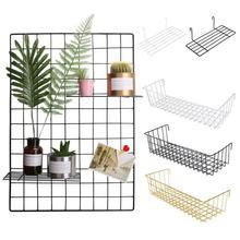 Ins style Wall Hanging Decoration Iron Art Storage Rack Wall Display Multi-function Mesh Wire Metal Shelf Wire Storage Basket
