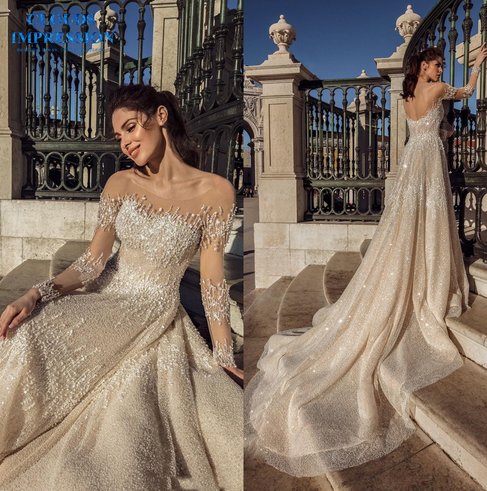 CLOUDS IMPRESSION Luxury Long Sleeve full embellishment Beading 2019 A Line Wedding Dress Bridal Dress Gown