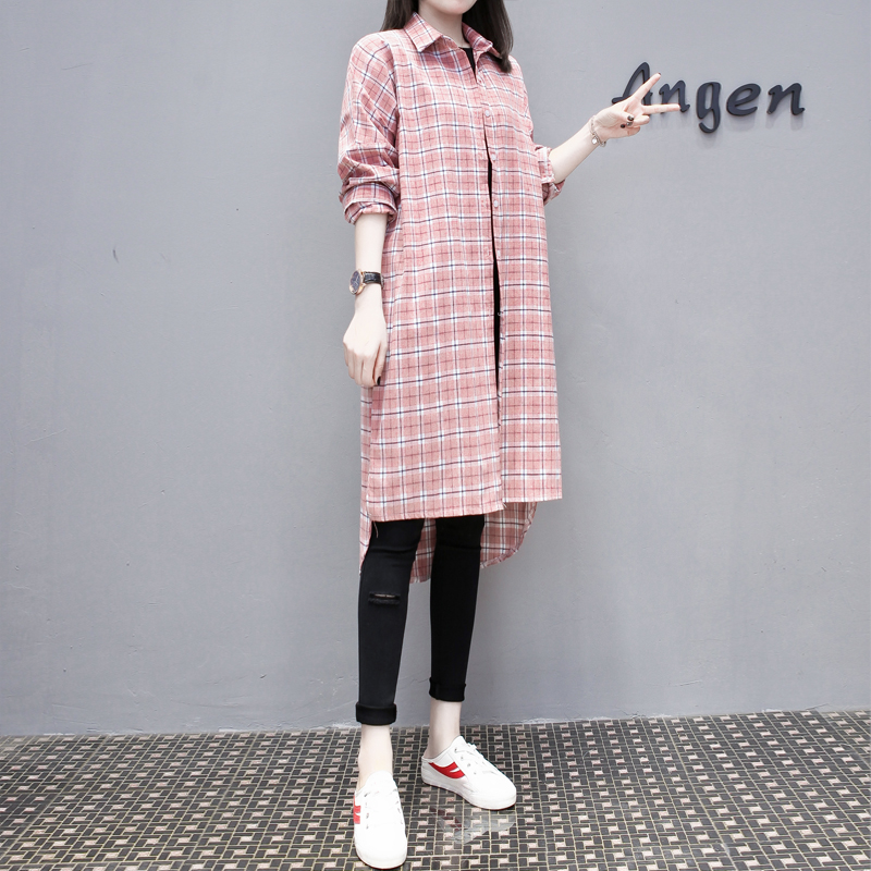 Cotton Long Sleeve Shirt Women 2019 Spring Summer Plus Size 4XL Plaid Long Shirt Female Big Size Low high Design Ladies Tops in Blouses amp Shirts from Women 39 s Clothing