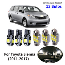 13pcs Car Accessories White Interior LED Light Bulbs Package Kit For 2011-2017 Toyota Sienna T10 31MM Map Dome Trunk Lamp free shipping 4 13x white led lights interior package kit for sienna toyota 2004 2011