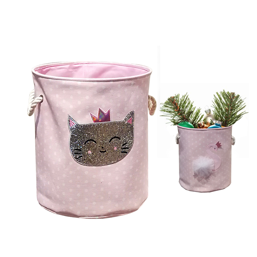 Home Foldable Storage Bucket Swan Cat Cartoon Canvas Dirty Clothes Storage Basket Home  Storage Bag