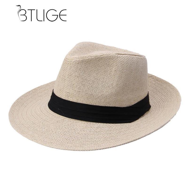 9c4a35fedacc8 BTLIGE Hot Jazz Men Beach Hat Sun Panama Gangster Cap Men s Women Unisex Trilby  Fedora Folding Big Trim Sun Straw Hats For Men