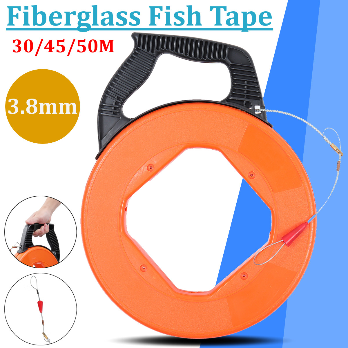 50/45/30m 3.8mm Fiberglass Fish Tape Electric Wire Puller Reel Conduit Ducting Rodder Fiberglass Fish Wire Cable Pulling Tool