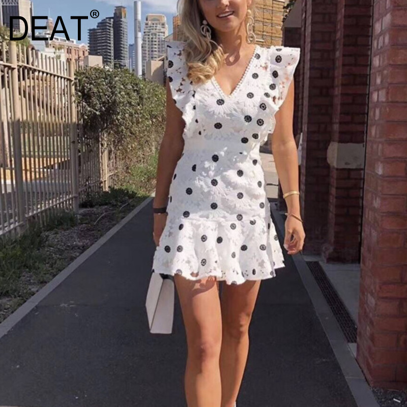 DEAT 2019 new summer women dresses V neck sleeves ruffles polka dots printed high waist min sexy dress female WE09200L-in Dresses from Women's Clothing    1