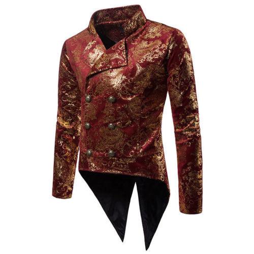 Gold Foil Red Tailcoat Suit Blazer Men 2018 Autumn New Double Breasted Lapel Suit Jacket Men Wedding Prom Tuxedo Blazer Hombre