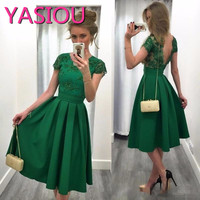 2019 Free shipping new Backless Dark Green A Line Appliques robe de Tea Length Party Gowns Cocktail Dresses