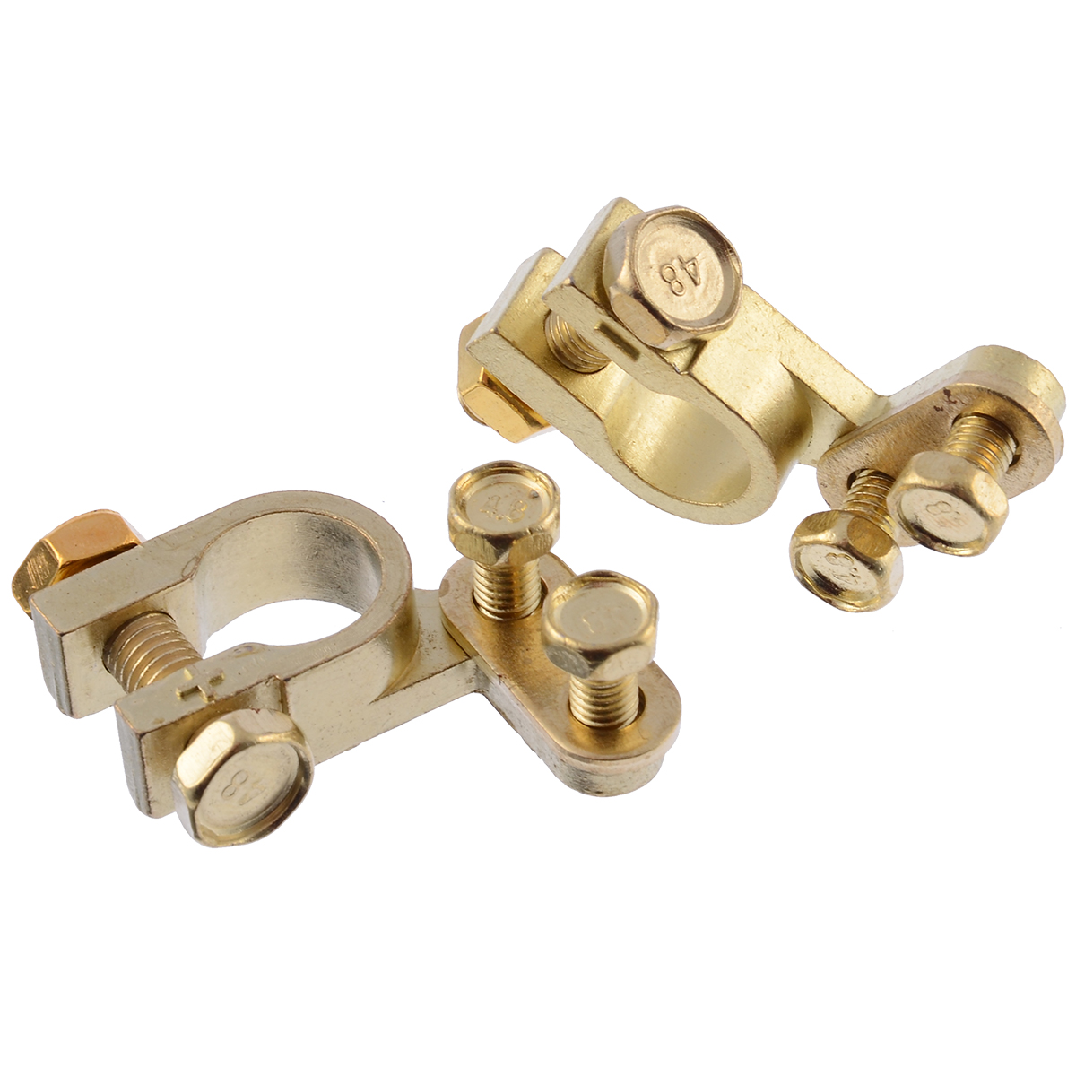 2Pcs Car Battery Terminals Clamps Pair Screw Connection Positive Negative Brass Cables Connectors Accessories in Jump Leads from Automobiles Motorcycles