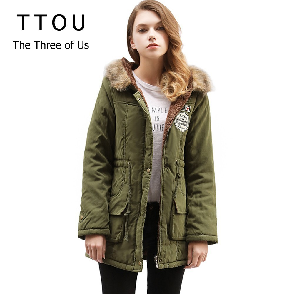 TTOU Fashion Fur Jackets Woman Winter 2018   Parka   Women Outwear Long Wadded Hooded Snow   Parka   Thickness Cotton