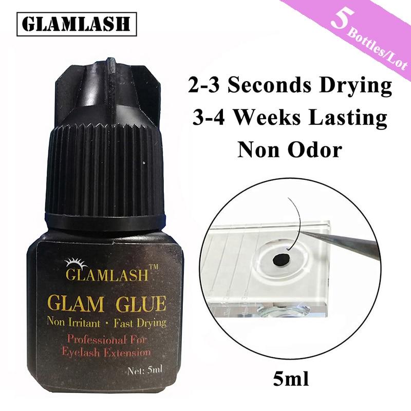 GLAMLASH 5Bottles/Lot 5ml 2-3s Fast Dry non odor no smell false lash extension No simulation individual eyelash glue Adhesive