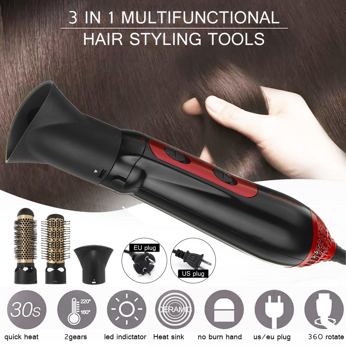Multifuctional Hair Dryer Hair Brush Fast Hair Straightener Curler Comb Electric Straightening Curling Brush Comb IronsMultifuctional Hair Dryer Hair Brush Fast Hair Straightener Curler Comb Electric Straightening Curling Brush Comb Irons