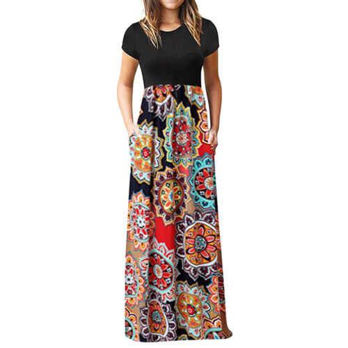 Vintage Floral estampado Boho Vestido Mujer largo Maxi vestido noche fiesta playa verano vestido Vestidos de manga corta Vestidos divididos