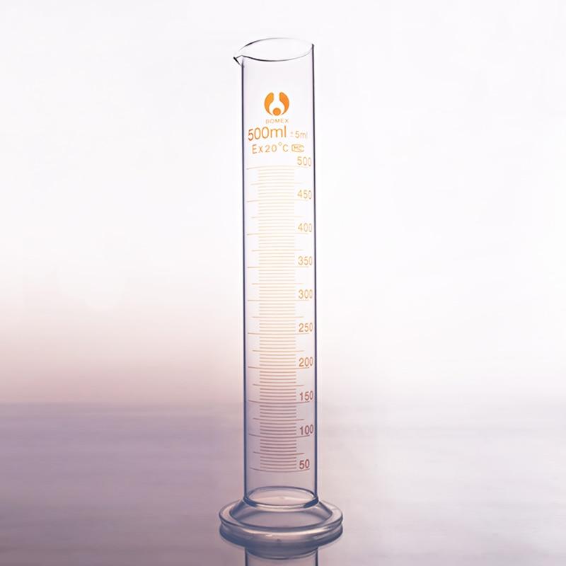 High Borosilicate Glass Measuring Cylinder,Capacity 500ml,Graduated Glass Laboratory Cylinder