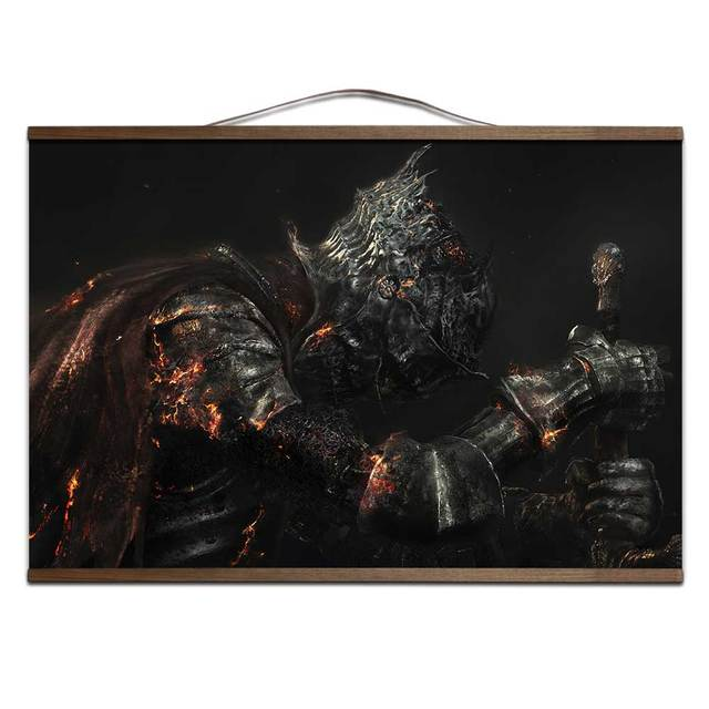 poster for Dark Souls 3 canvas prints posters decoration painting with solid wood hanging scroll