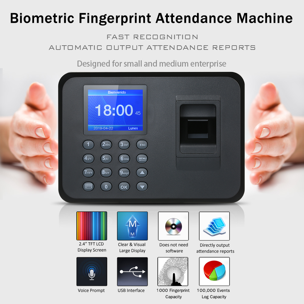 "Biometric Fingerprint Attendance Machine 2.4"" TFT LCD Display USB Fingerprint Attendance System Employee Checking-in Recorder(China)"